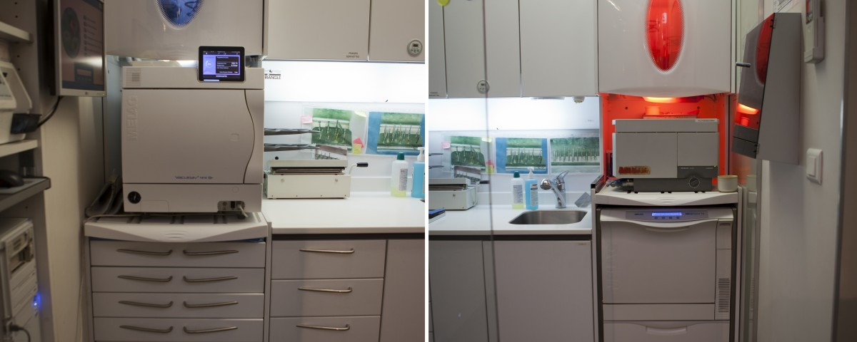 Zone de stérilisation du cabinet dentaire des Dr. Marcucci & Combès